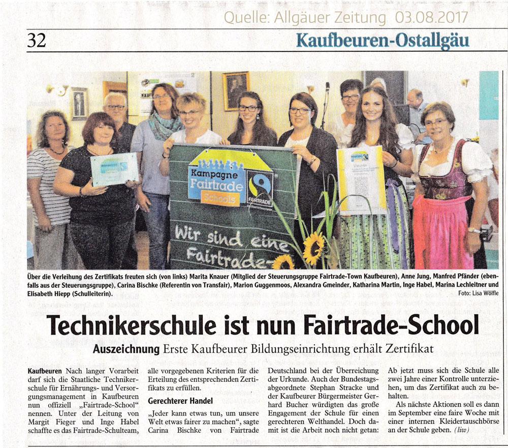 Erste Fairtrade School Kaufbeuren